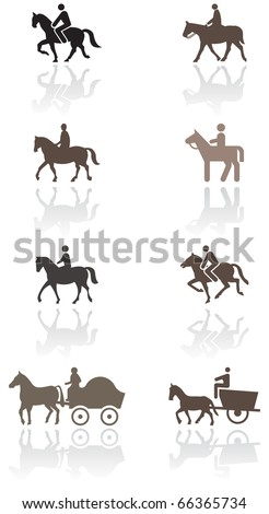 Horse or pony symbol vector illustration set. All vector objects are isolated and grouped. Colors and transparent background color are easy to adjust. - stock vector