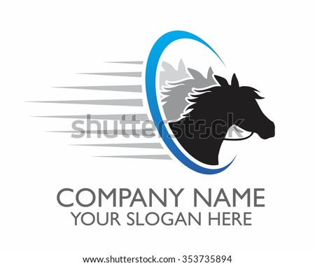 horse race character illustration logo icon vector