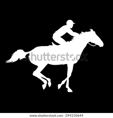Horse race. Horse and rider. Racing horse and jockey silhouette. Derby. Equestrian sport. Silhouette of racing horse with jockey on isolated background