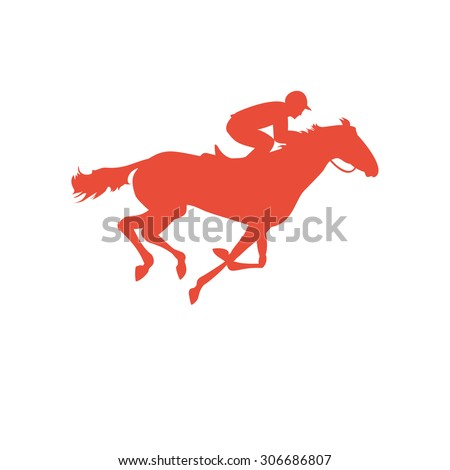 Horse race. Silhouette of racing horse with jockey on isolated background. Racing horse and jockey silhouette. Horse and rider. Derby vector icon. Equestrian sport