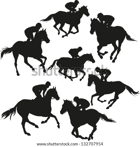 horse racing - stock vector