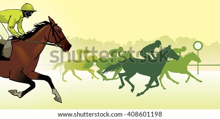 Horse Racing. Competition. Jockeys on horses galloping on the racetrack.. Silhouettes of riders on a colored background. color image
