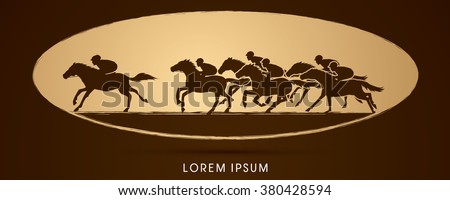 Horse racing ,Horse with jockey, designed on golden ellipse background graphic vector. - stock vector