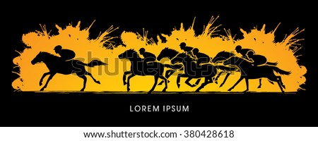 Horse racing ,Horse with jockey, designed on splash brush background graphic vector. - stock vector