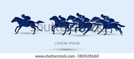 Horse racing ,Horse with jockey, designed using blue grunge brush graphic vector. - stock vector