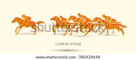 Horse racing ,Horse with jockey, designed using fire grunge brush graphic vector. - stock vector