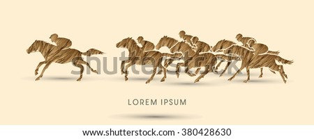 Horse racing ,Horse with jockey, designed using gold grunge brush graphic vector. - stock vector