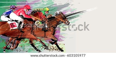 Horse racing over grunge background - Vector illustration