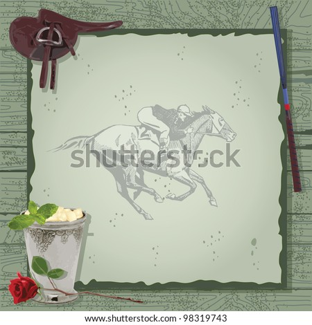 Horse Racing Party Invitation with saddle, mint julep, whip with a vintage jokey and horse on barn wood. Great for the Kentucky Derby or any horse themed event.
