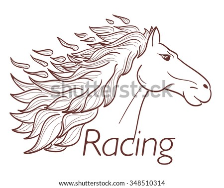 horse racing symbol on white. vector