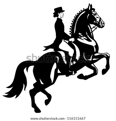 horse rider,dressage,equestrian sport,black and white vector image isolated on white background,side view picture