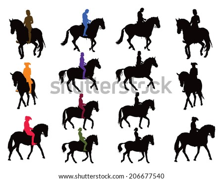Horse rider vector silhouettes set. Rider in color, horse black. Another collection are riders plus horse as united object in black. - stock vector
