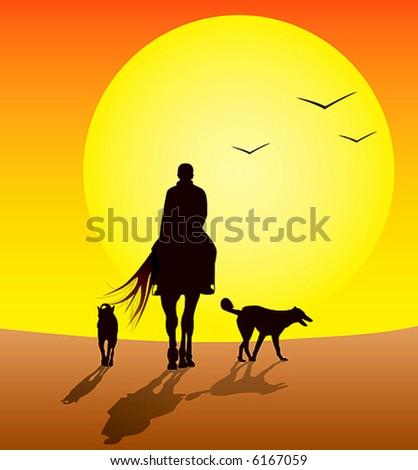 horse riders - stock vector