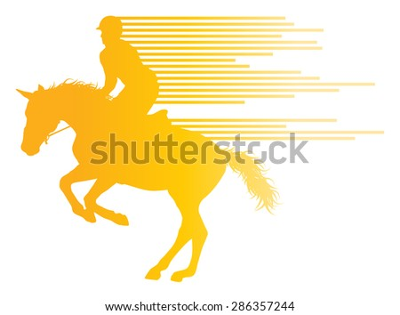 Horse riding equestrian sport with horse and rider vector background concept made of stripes - stock vector