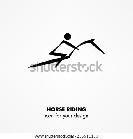 horse riding icon - stock vector