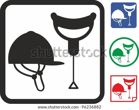 Horse riding saddle and helmet vector icon - stock vector