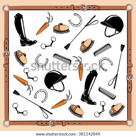 horse riding tack leather belt frame stock vector 381142849 rh shutterstock com Horse Ridings Supplies Clip Art Riding a Horse Clip Art