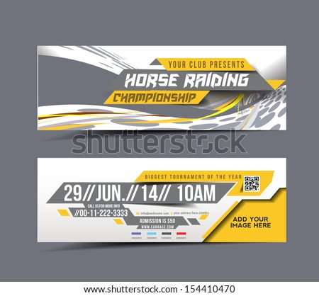 Horse Riding Web Banner, Header Layout Template.  - stock vector