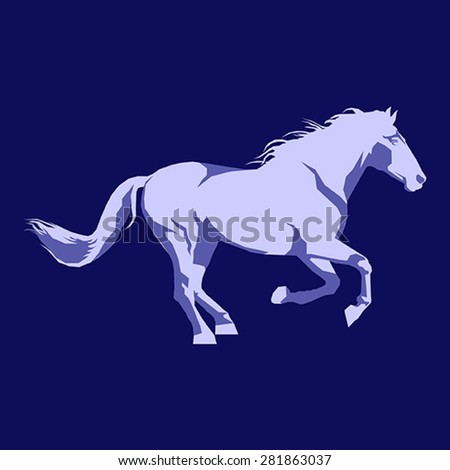 horse running illustration vector geometric decorative simple design background blue