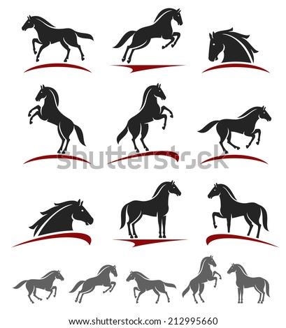 Horse set. Vector - stock vector