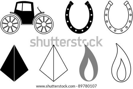 Horse Shoe flame pyramid and stage coach symbols. - stock vector