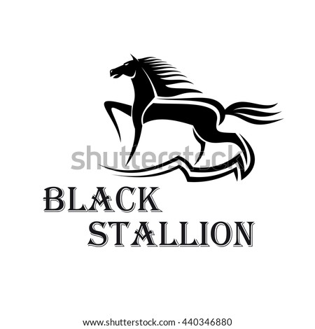 Horse show icon for dressage and show jumping sporting competition design usage with purebred stallion performing a working trot at arena - stock vector