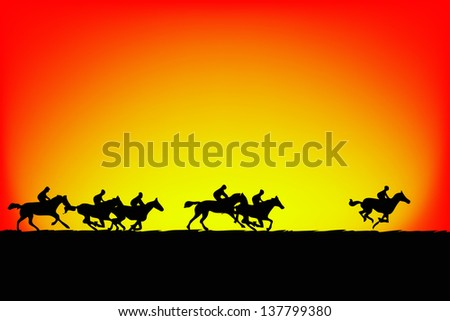 Horse silhouette on sunset background.vector - stock vector