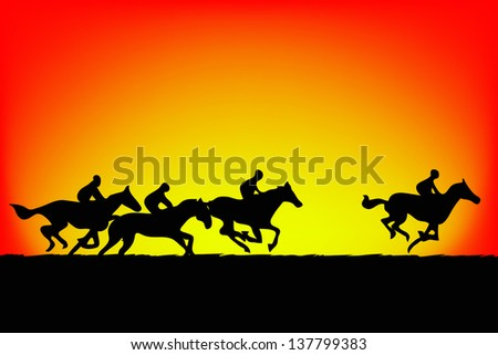 Horse silhouette on sunset background.vector