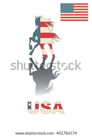 Horse silhouette with American pattern
