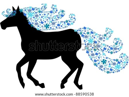 Horse silhouette with floral mane - stock vector