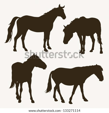 Horse silhouettes, vector illustration - stock vector
