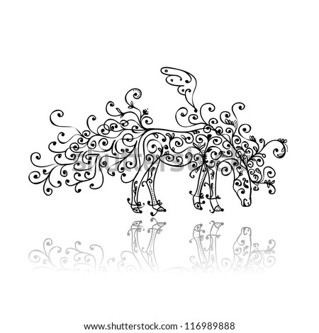 Horse sketch with floral ornament for your design - stock vector