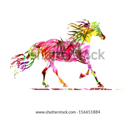 Horse sketch with floral ornament for your design. Symbol of 2014 year - stock vector
