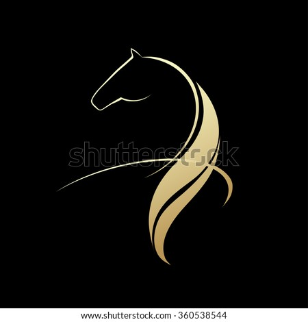 Horse symbolic logo element, vector image
