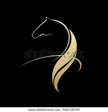 Horse symbolic logo element, vector image - stock vector