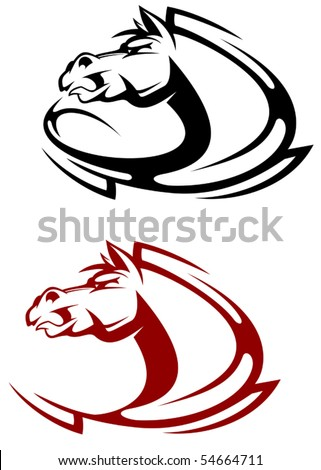 Horse tattoo symbol or logo template. Jpeg version also available in gallery - stock vector