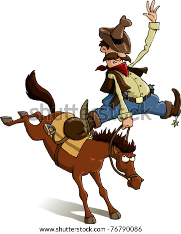 Horse throws off a cowboy, vector illustration