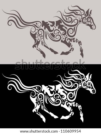 Horse tattoo stock photos images pictures shutterstock for Running horse tattoo