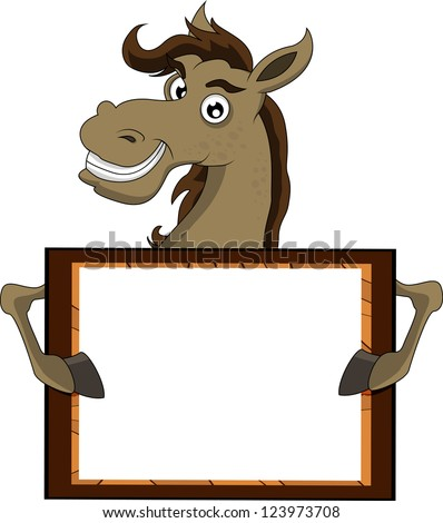 horse with blank sign - stock vector