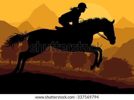 Horse with rider countryside landscape equestrian sport vector background concept
