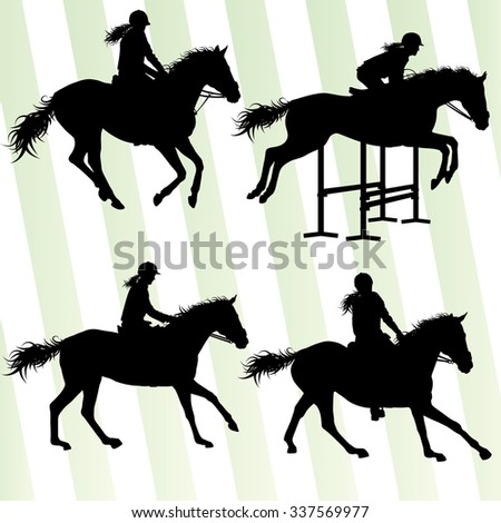 Horse with rider equestrian sport vector background concept set