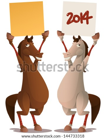 horse with sign - stock vector