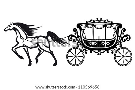 Horse Carriage Cartoon Horse With Vintage Carriage