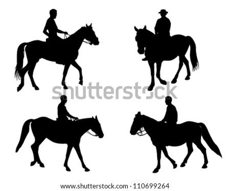 horsemen silhouettes - stock vector