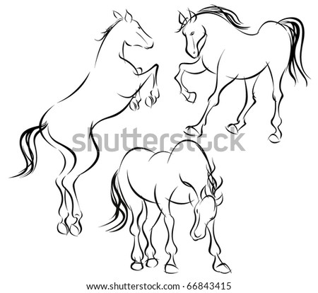 Horses. All outlines are built with shapes.