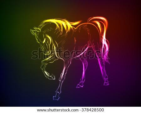 Horses. Hand-drawn neon illustration - stock vector