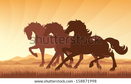 Horses in field on sunset background vector silhouette illustration. EPS 10. - stock vector