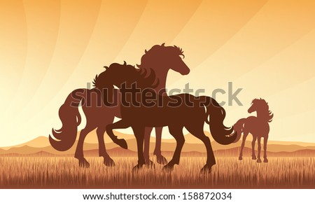 Horses in field on sunset background vector silhouette illustration. EPS 10.