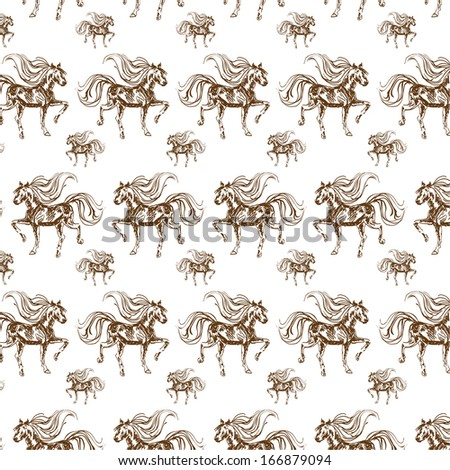 Horses seamless pattern. Vector template background  - stock vector