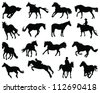 Horses silhouette 5-vector - stock vector